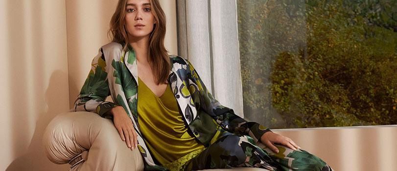 Model wearing a beautiful pajama from Mey
