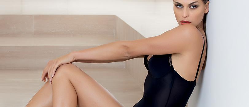 Model wearing black satin panty