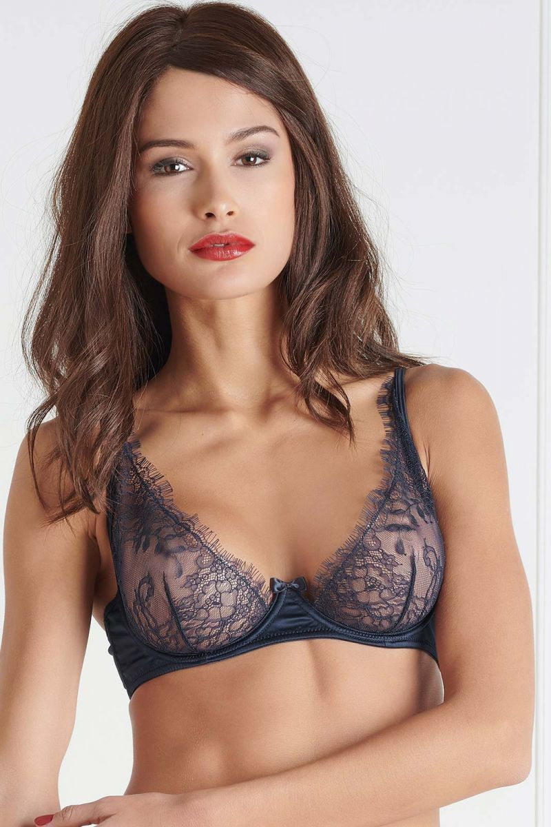 Underwired triangle bra Villa Satine Navy blue