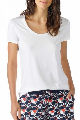 tee-shirt manches courtes  Mey Demi secco blanc 16824 1