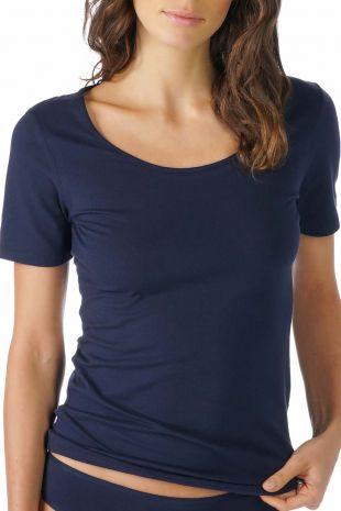 tee-shirt manches courtes  Mey Cotton Pure night blue bleu 26500 1