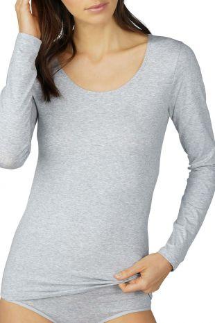 top manches longues Mey Cotton Pure grey mélange gris 26502 1